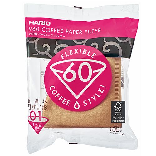 Hario V60 Koffiefilters 01 Bruin 100 stuks